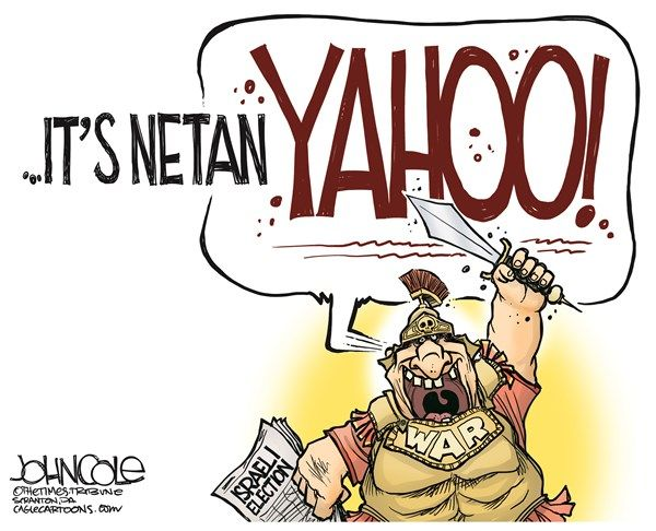 NetanYAHOO © John Cole,The Scranton Times-Tribune,Benjamin Netanyahu, Israel, Iran, Barack Obama, palestine, palestinian, two-state, negotiations, diplomacy, nuclear