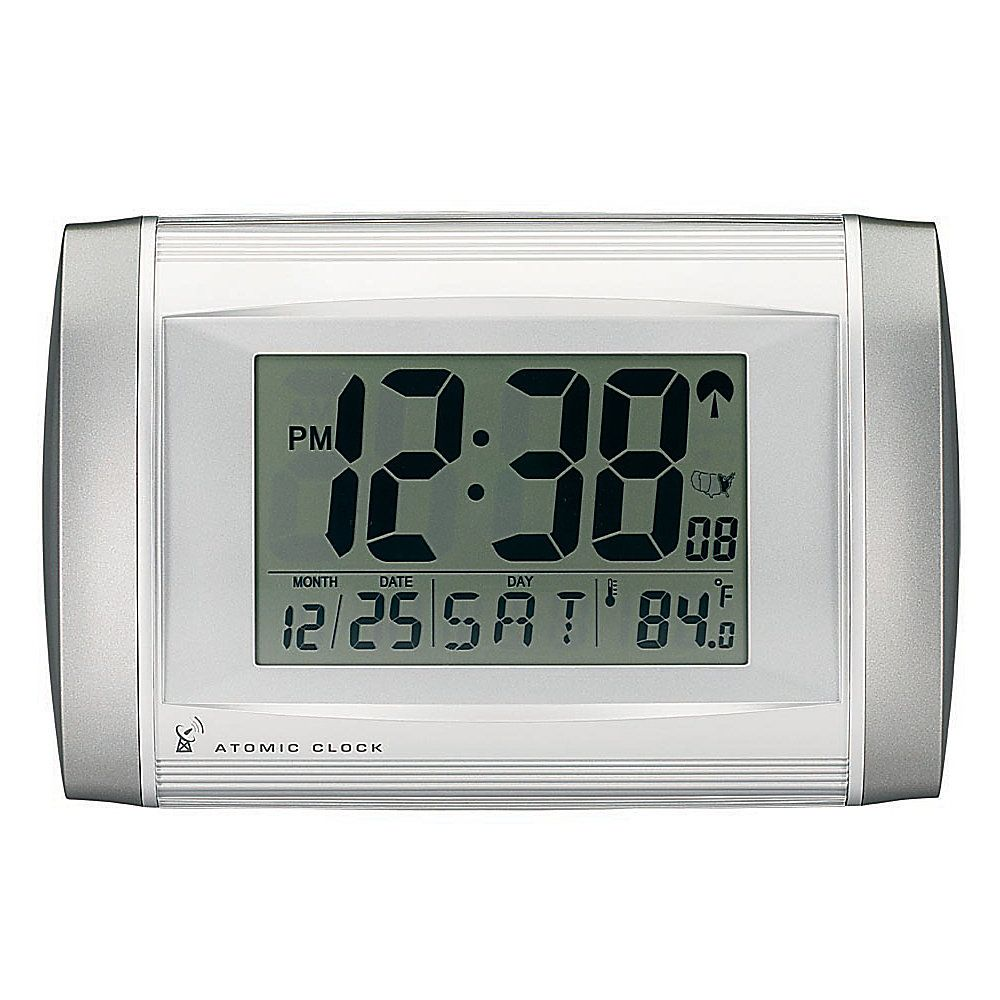 Tempus Radio Controlled Digital Clock Two Tone Silver 4619 For B