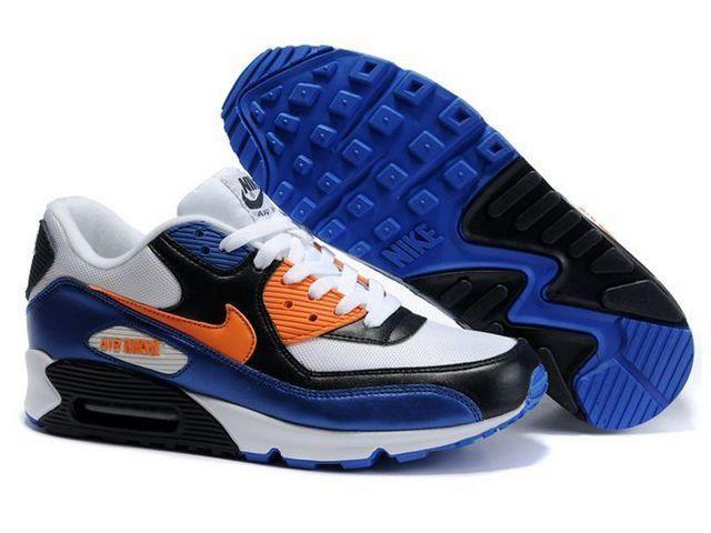 Nike Air Max 90 White Blue Orange Black Price 70 85 Nike Air Max Nike Air Max 90 White Nike Shoes Air Max