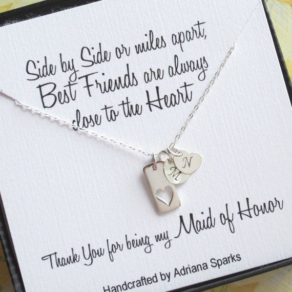 Maid Of Honor Thank You Gift Sterling Silver Initial Necklace Heart Tag Bridesmad Best Friend Gift Maid Of Honour Gifts Gifts For Wedding Party Maid Of Honor