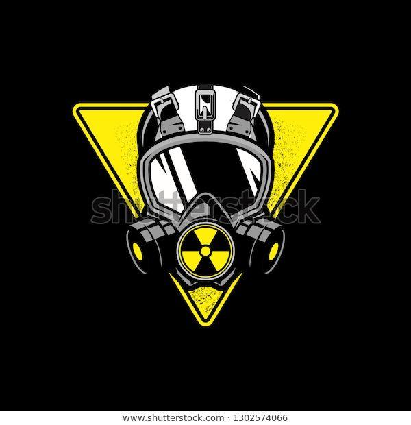 Vetor stock de Gas Mask Triangular Shape Nuclear Symbol (livre de direitos) 1302574066