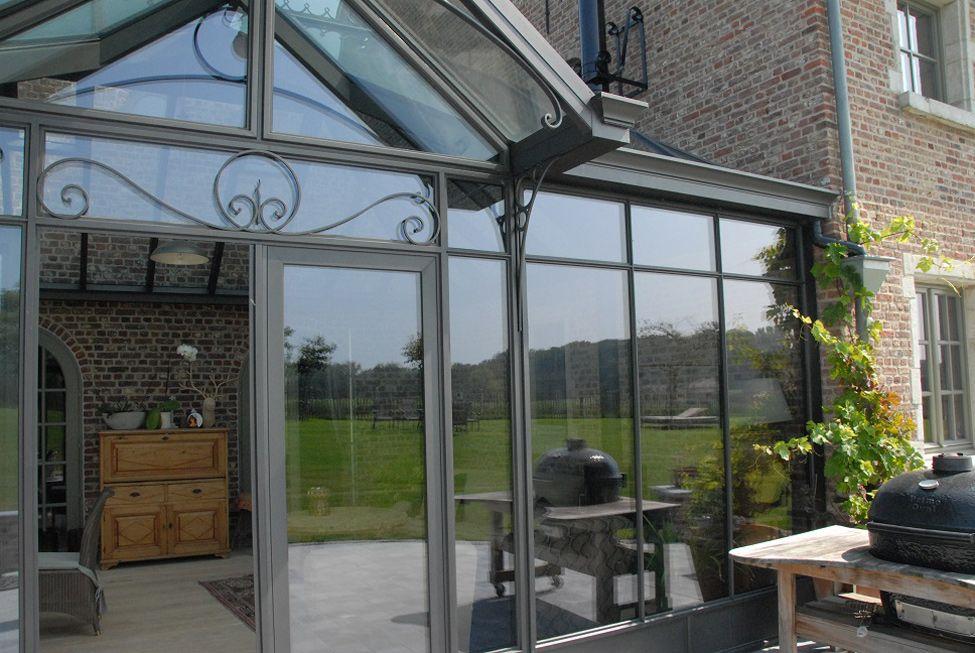 veranda steel look aluminium grijs smeedwerken | ramen en deuren ...