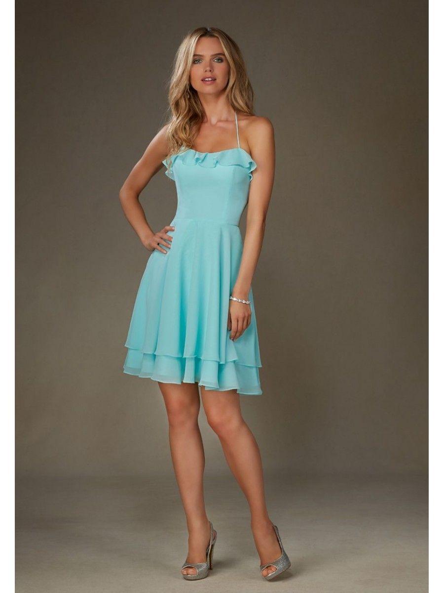 Lovely Halter Short Blue Chiffon Bridesmaid Dresses 5602061 | 2017 ...