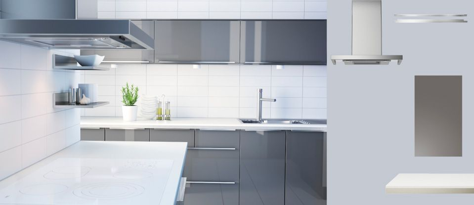 akurum kitchen with abstrakt grey high gloss doorsdrawers and numerr white worktop with - Ikea Akurum Kitchen Cabinets
