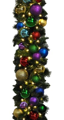 Queens of Christmas Ornament Pre-Lit 9 Warm White LED Blended Pine Garland Decorated with The Royal Collection,