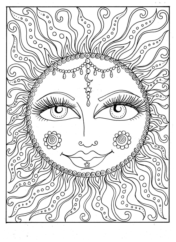 Instant Download Sun Summer Coloring Page Adult Coloring Page To Color Beach Coloring Cosmic Celestial Kolorowanki Wzory Kolorowanka