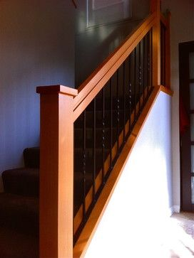 Craftsman Style Staircase Comprised Of 1 5 8 Square Spindles 6 X   Shaker Style Newel Post   Shingle Style   Baluster   Pressure Treated   Square   Railing