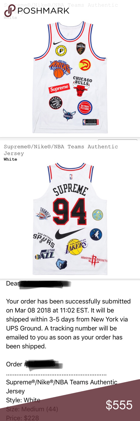 Supreme x Nike NBA Teams Authentic Jersey White Brand new from Supreme  Website Deadstock fa1a15511