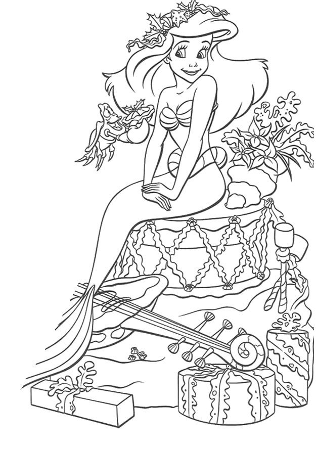 Disney Princess Celebrate Christmas Day Coloring Pages A