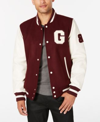 142bb1d6f8d7 Guess Men's Hooded Varsity Jacket - Burgendy in 2019 | Products ...