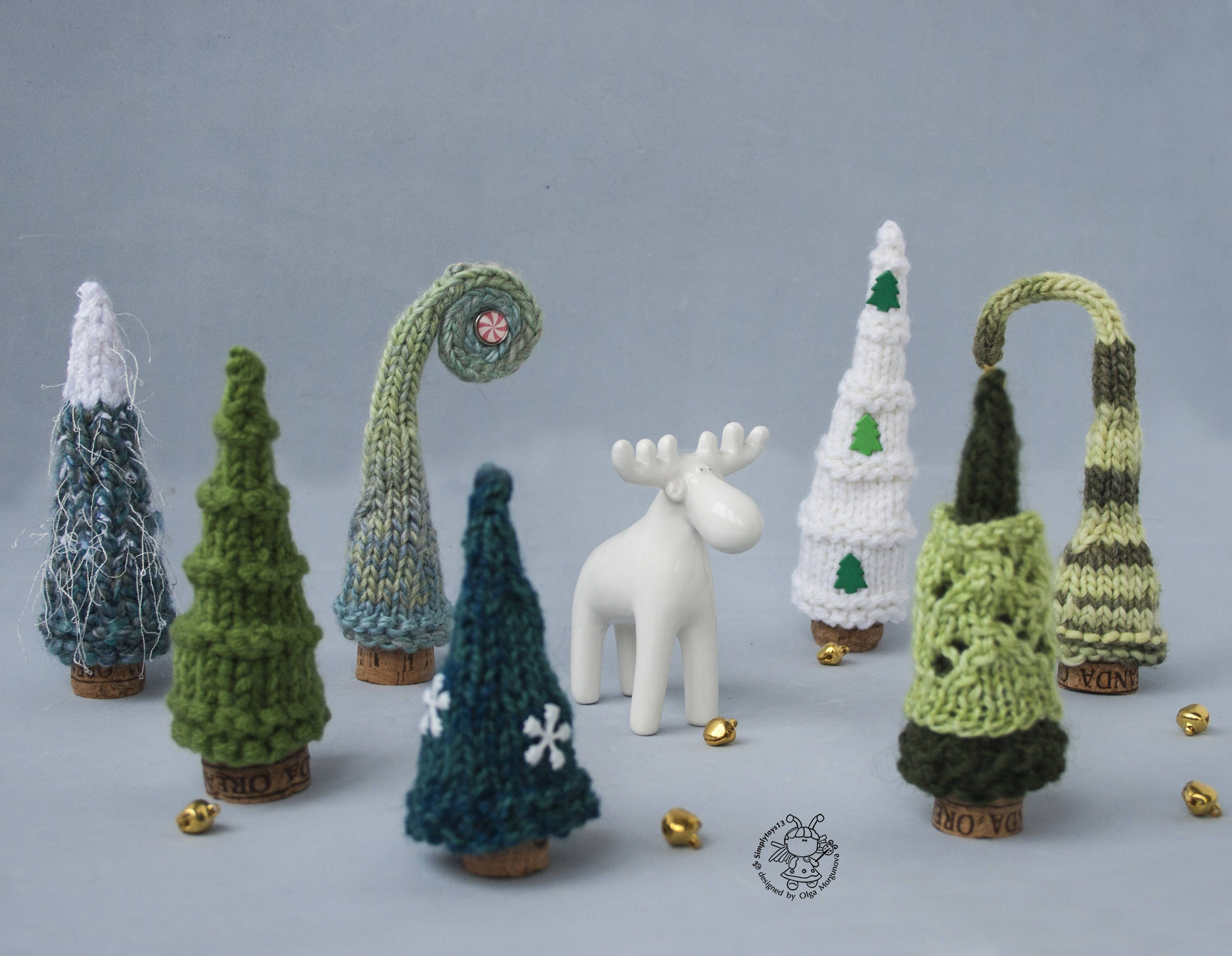 Photo of 7 Pine Christmas Trees pdf patterns Decoration Xmas & New year Gift Forest Xmas Instant download Knitting pattern Knitted round Pine Tree
