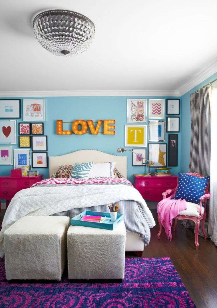 Peinture Chambre Enfant Ado Fille Bleu Rose Violet