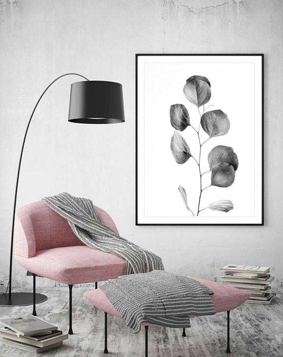 Black  White Wall Art Leaf Photography Australian Plant Print