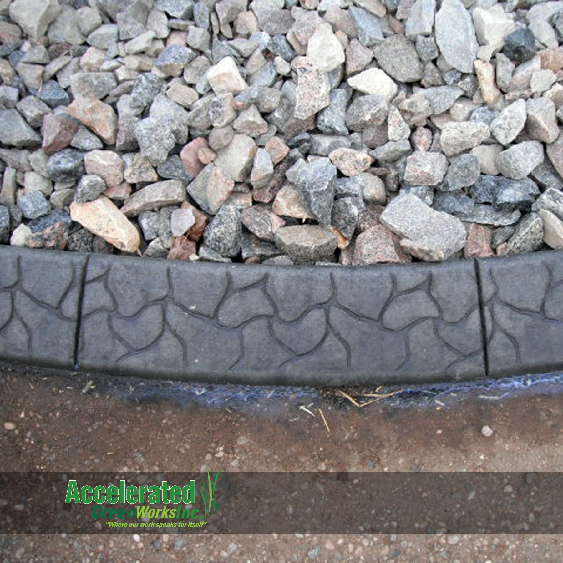 Concrete Curb Edging With A Slant Form And Stamp Pattern