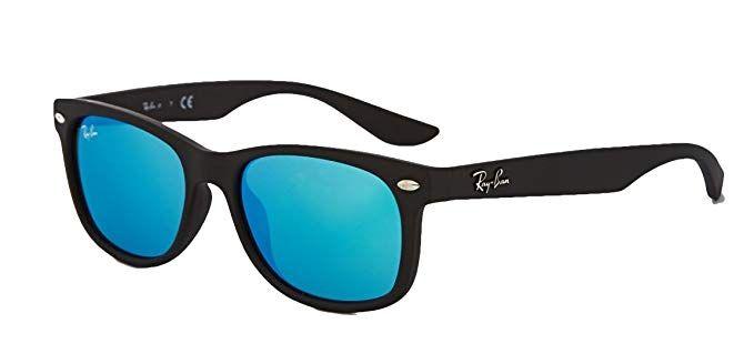 b73a53a555782 Ray-Ban RB2132 New Wayfarer Sunglasses Unisex 100% Authentic (Matte Black  Frame Blue