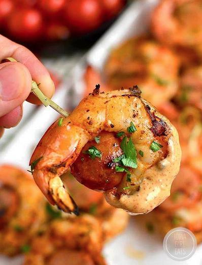 Spicy Shrimp and Sausage Skewers