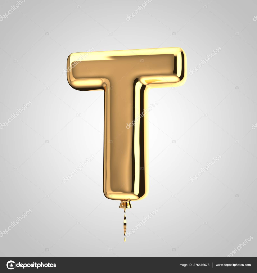 Download Shiny Metallic Gold Balloon Letter T Uppercase Isolated On White Background Stock Image Gold Letter Balloons Gold Balloons Letter Balloons