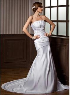 Mermaid Scalloped Neck Court Train Satin Wedding Dresses With Ruffle (002000607)