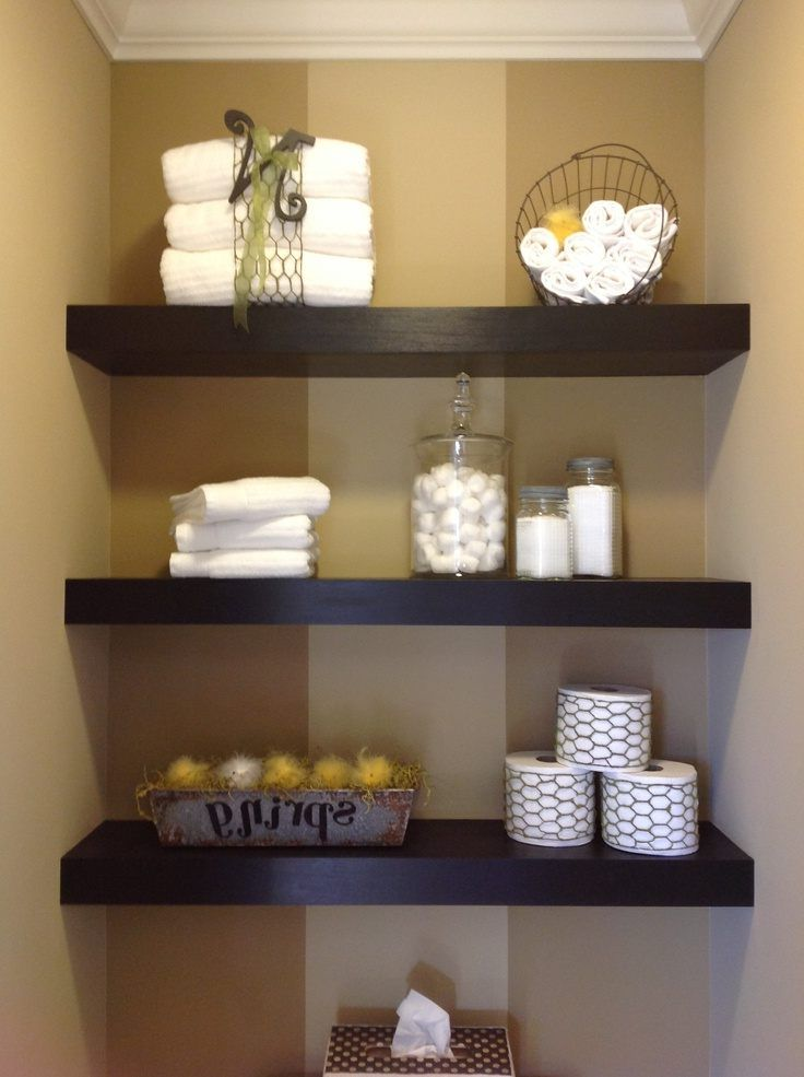 Floating shelves bathroom diy round wall mirror decorative - Accessories for bathroom shelves ...
