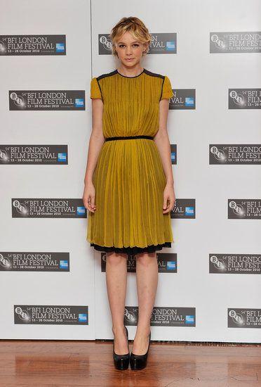 Carey Mulligan glows in a mustard colored Proenza Schouler frock back in 2010