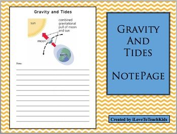 This is a great resource for Earth Science when teaching the concepts of Gravity and Tides.  The illustration helps students understand as they take detailed notes explaining these difficult ideas.Save $1.00 on the BUNDLE of 3 Notepages for Earth Science at:BUNDLE Earth Science Note Pages