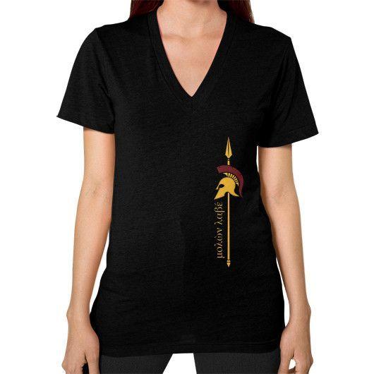 SPARTAN Molon Labe Spear V-Neck (on woman)