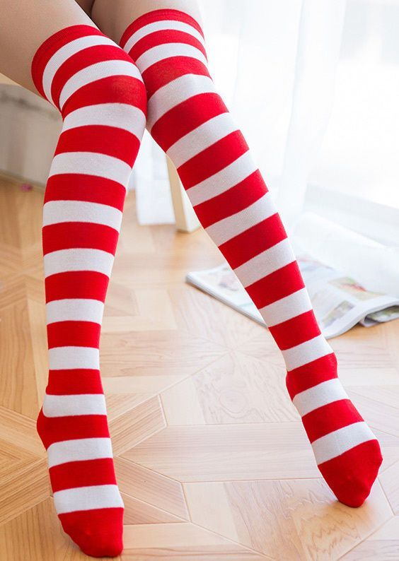 6c25a408c Women Knee High Striped Long Thigh Highs Bottom Socks Hosiery Stockings Us. striped  red white girls sexy long stockings christmas ...