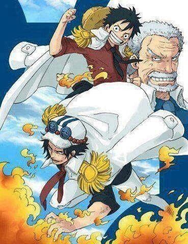 Ace, Luffy, Garp, fire