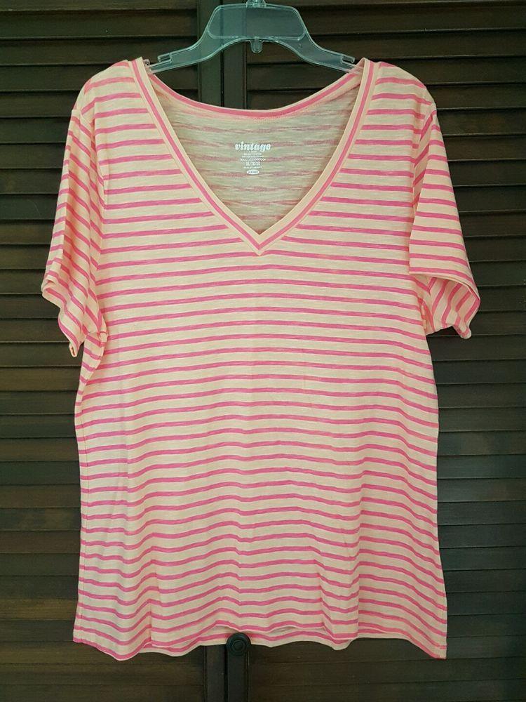 8d7ede1c56 Women s Old Navy Vintage Pink Peach Nautical Striped V-neck Tee T-shirt XL
