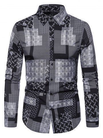 VITryst-Men Bussiness Long Sleeve Silm Fit Britain Plaid Longshirt