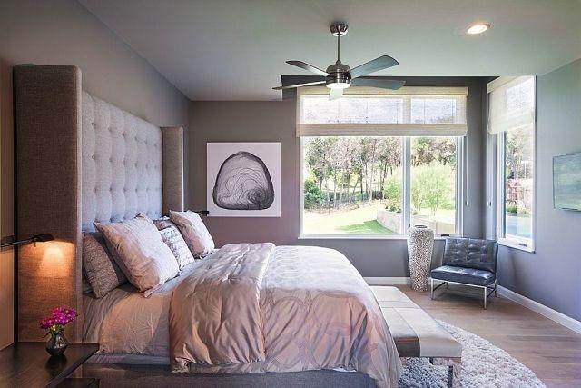 Schlafzimmer Streichen Ideen Grau Polsterbett Hohem Betthaupt - Ideen für schlafzimmer streichen