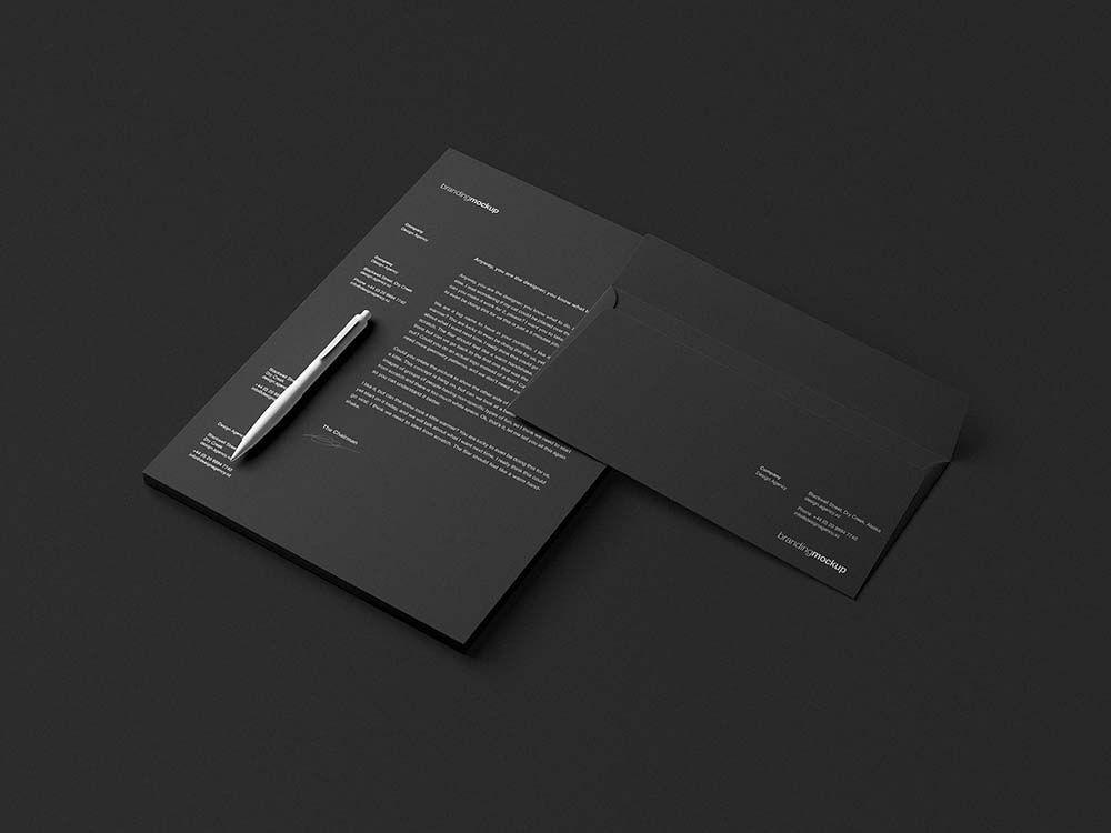 Branding Mockup Black Version Branding Mockups Letterhead Branding
