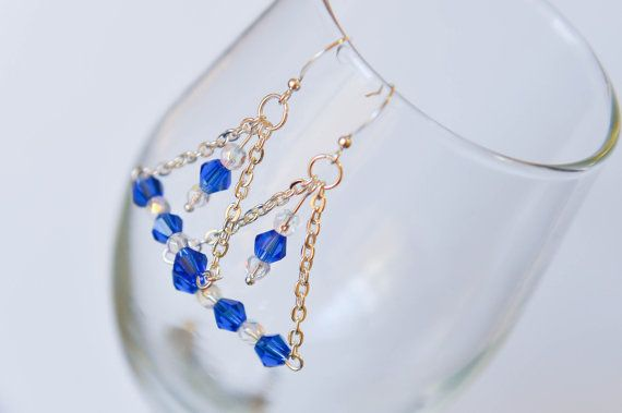 Dangle earrings on silver chain transparent by twocatsboutique, $13.00