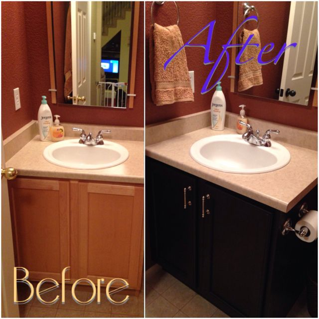 Can I Use Kitchen Cabinets In The Bathroom: Revamped My Guest Bathroom By Staining The Builders Grade