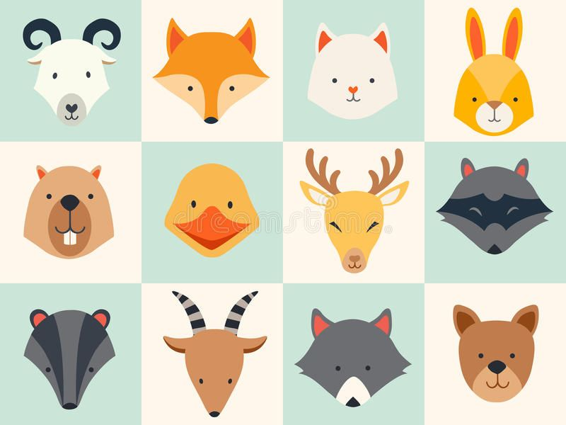 Set Of Cute Animals Icons Vector Illustrations On Colored Background Ad Animals Icons Set Animal Icon Cute Animal Illustration Cute Animal Tattoos