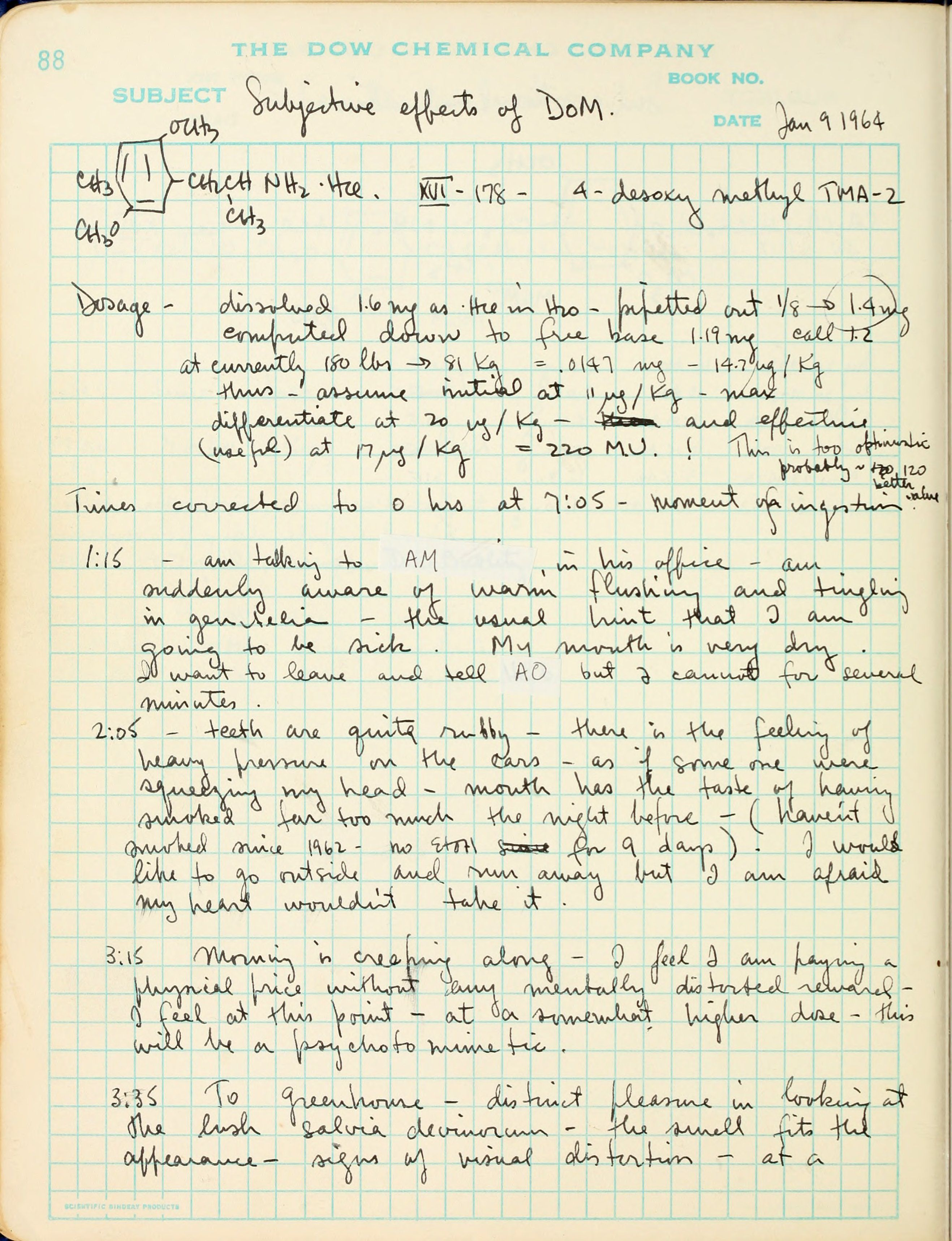 As Handwritten Notes In Book 1 Page 88 89 Of The Shulgin Lab Books ...