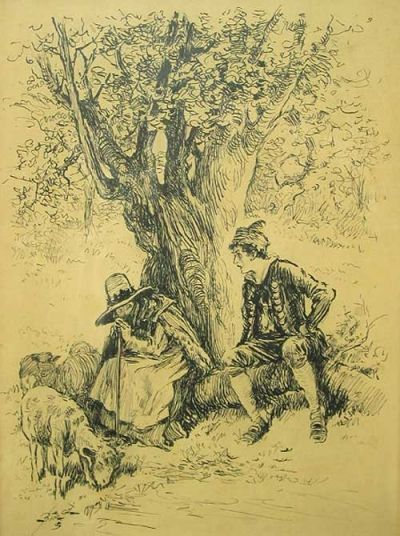 Pen and ink drawing depicting a shepherdess and young man in period costume under a tree #books #art #nature #illustrations