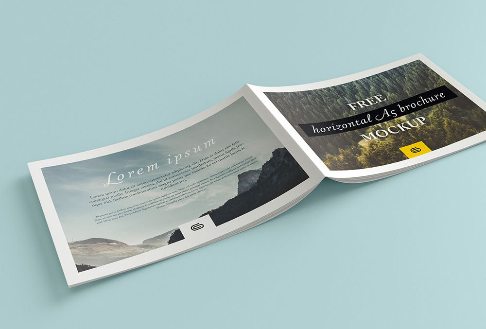 Free landscape brochure mockup with 4 views and customizable - landscape brochure