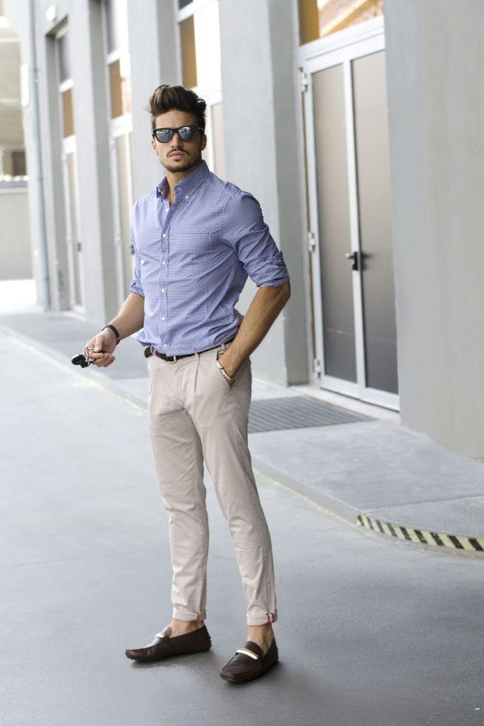 Look de moda  Camisa de vestir a cuadros celeste b22797eef83