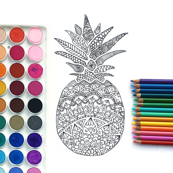 Downloadable coloring page, Pineapple adult coloring page