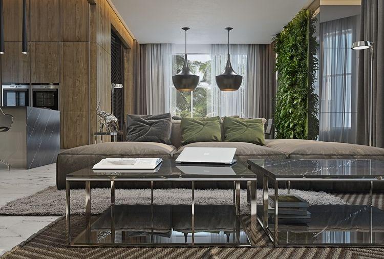 Vertikaler Garten Wohnzimmer Pendelleuchten Schwarz Grau  Anthrazit Wandverkleidung Gardinen Teppich