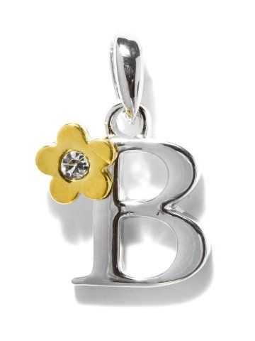 Golden Peacock Silver & Gold Toned Letter B Charm Pendant | Myntra