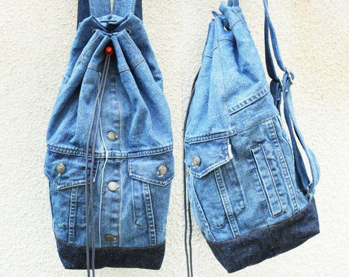 denim backpack upcycled denim jacket jeans bag drawstring bucket bag 80s 90s grunge boho. Black Bedroom Furniture Sets. Home Design Ideas