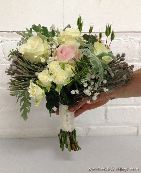 Wild Just Picked Garden Flower Bridal Bouquet In Creams Pink And Grey With Spray Roses Gypsophila With Images Wedding Flowers Rustic Wedding Flowers Pink Wedding Flowers