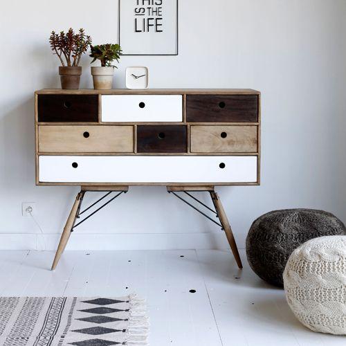 buffet en bois et m tal 7 tiroirs blanc noir et naturel. Black Bedroom Furniture Sets. Home Design Ideas