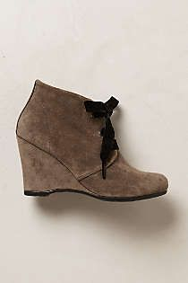 Anthropologie - Velvet Laced Booties