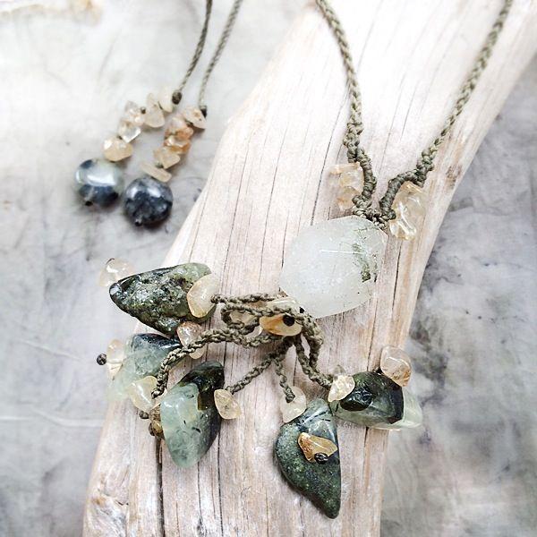 Image of Crystal amulet with Epidote in Prehnite, Gold Rutile Quartz & Garden Quartz