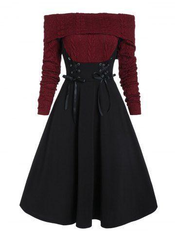 Photo of Schulterfreies, geschnürtes, kabelgestricktes Kleid mit Mischtech