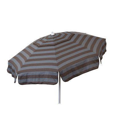 DestinationGear Italian 6 ft. Aluminum Cabana Stripe Bistro Umbrella Steel Gray/Chocolate - 1407, Durable