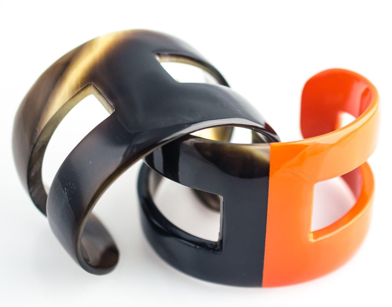 Hermes inspired Horn cuff Handmade bangle bracelet